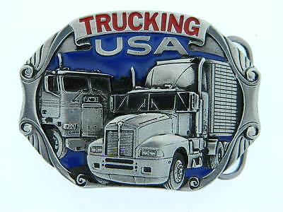 Semi Trucking USA Longnose Cab Over Trailer OTR Peterbilt Mack Kenworth Buckle