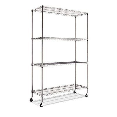 Alera Standing Shelf Units Complete Wire Shelving Unit with Caster, Black