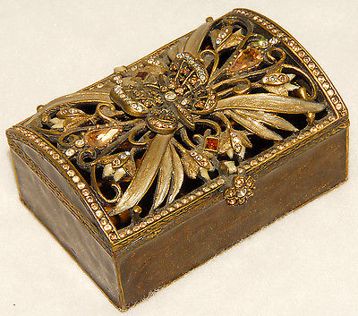 Jay Strongwater - Bronze Enameled Swarovski Butterfly Trinket / Jewelry Box