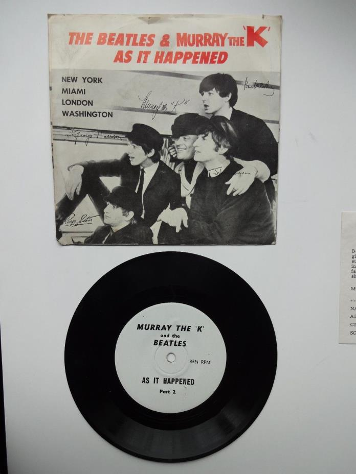 HI GRADE THE BEATLES MURRAY THE K AS IT HAPPENED SLEEVE RECORD RARE FLYER