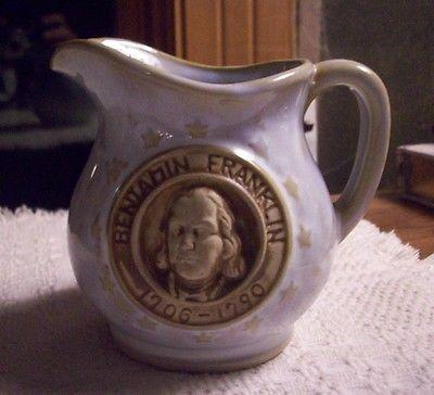 BENJAMIN FRANKLIN 1706-1790 COMMEMORATIVE PITCHER