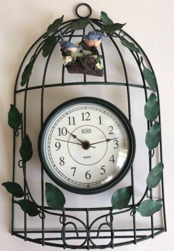 ELECO GREEN WIRE & VINE LEAVES BLUEBIRD NEST QUARTZ BIRD CAGE WALL CLOCK.