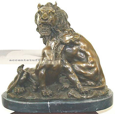 Huge Bronze Male and Female Lions Statue