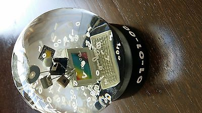Vintage Y2K End of the World Snow Water Globe 01-01-00 Computer