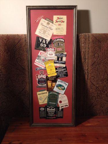 Vintage FRAMED MAN-CAVE LIQUOR LABEL COLLAGE SIGN - Smirnoff, Canadian Club, etc