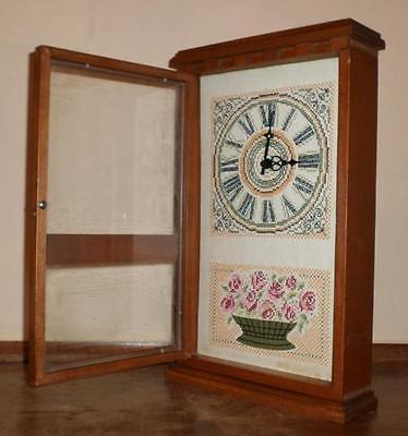 Vintage Cross Stitch Mantel or Wall Clock Stitched Clock Face and Roses Works