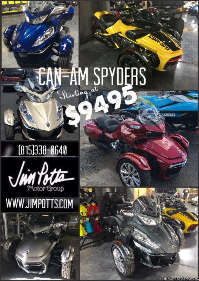 CLEARANCE! ALL NEW Can-Am Spyders BEST PRICE GUARANTEED! PRE-OWNED UNITS...