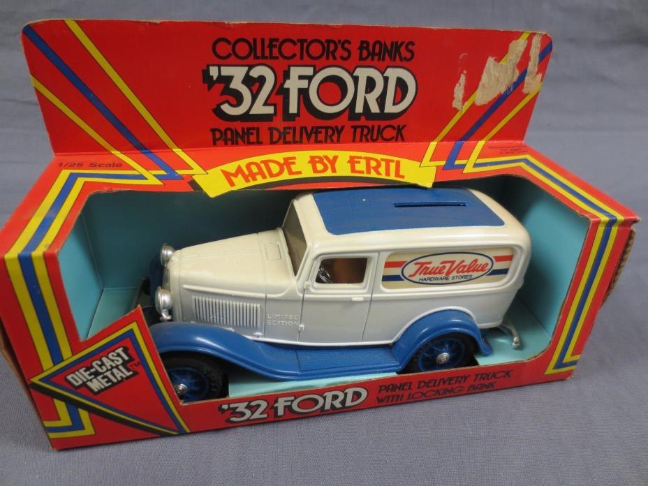 Ertl True Value 1932 Ford Panel Truck Lockable Bank