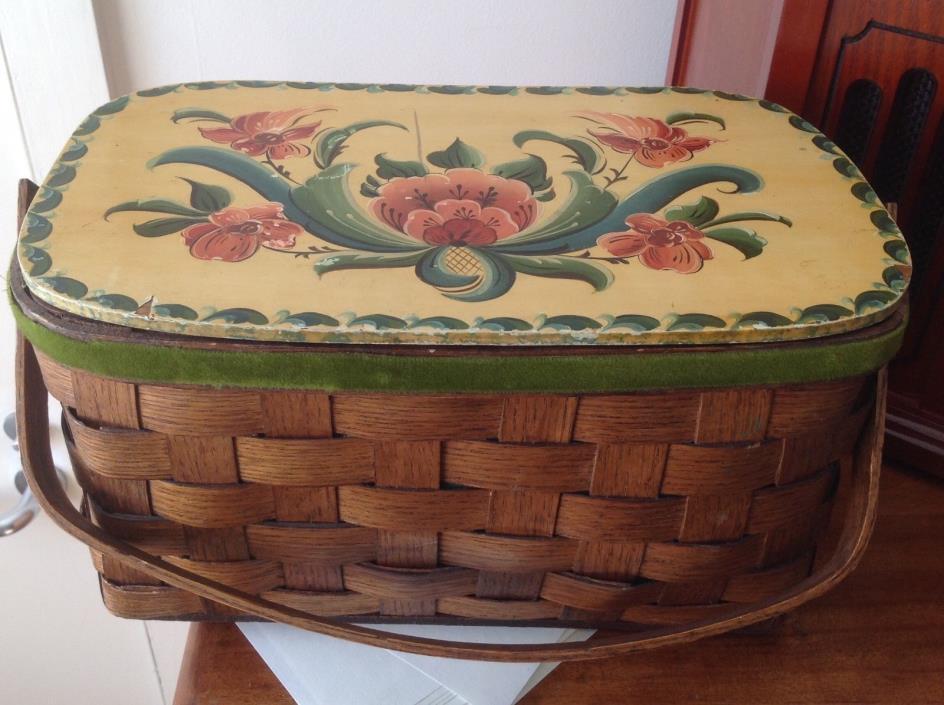 Antique Oak Wicker Woven Folk Art Sewing Basket Towle Painted Lid Felt Lined