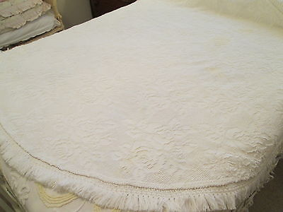 Vintage White Sears Hobnail Chenille Bedspread Style Round Tablecloth