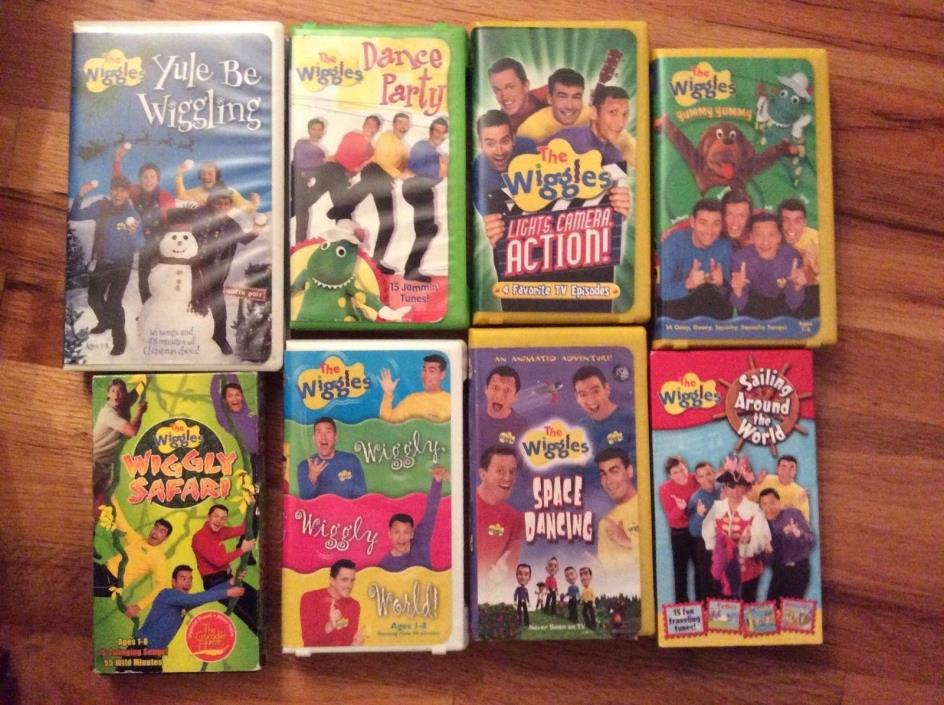 The Wiggles Children's Videos Lot of 8 VHS Yule Dance Safari Wiggily Yummy Space