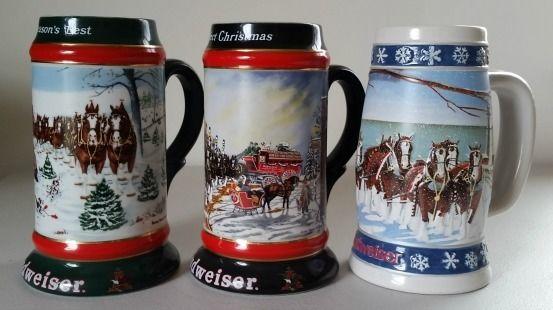 3 Budweiser Christmas Holiday Beer Mugs 1991, 1992 & a 1995