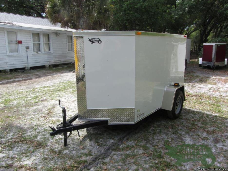 Enclosed Trailer with 2ft Side Door for SALE!  5 ft x8 New Wht Ext