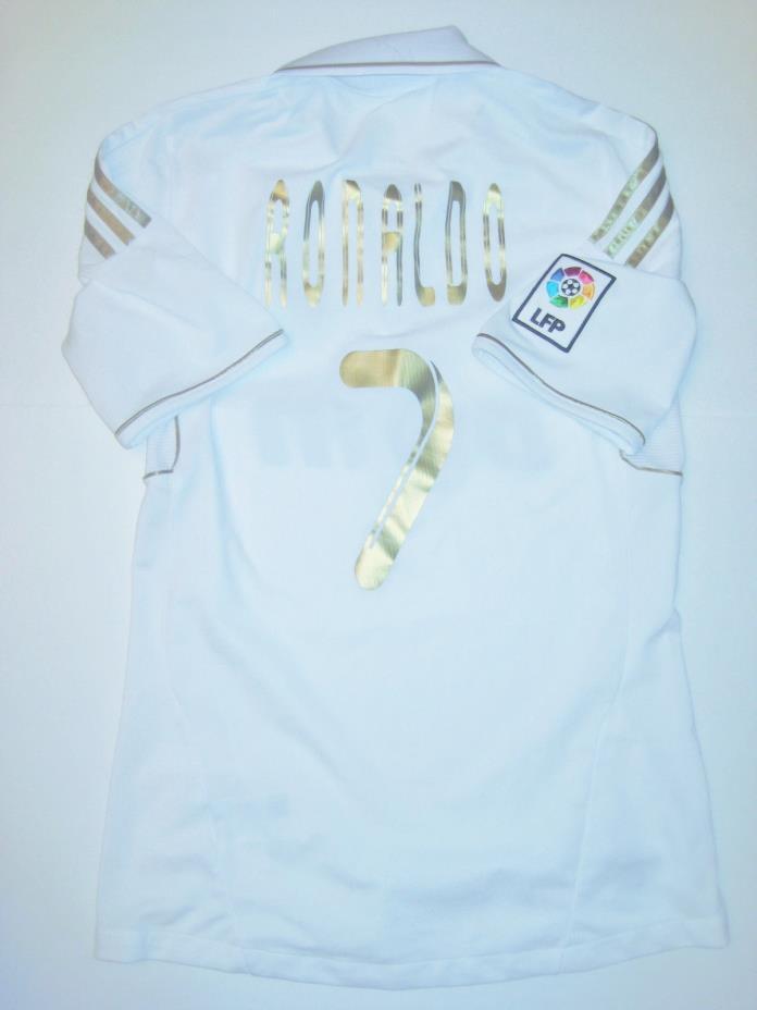 RARE short sleeve Adidas Real Madrid Cristiano Ronaldo #7 2011 gold home jersey
