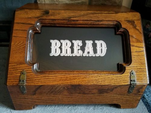 Vgt.Wooden Old Style Bread Box with Country Kitchen Tempered Bread Sign~Nice!