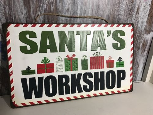 Metal Sign Santa Claus Santa's Workshop Hanging TIn Christmas Decor