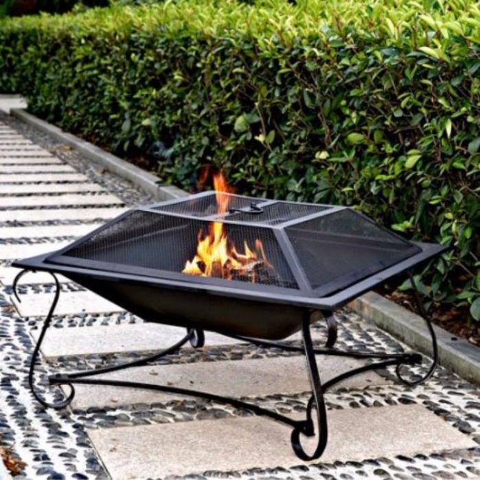 Hamilton 30 Inch Outdoor Square Steel Fire Pit Patio Picnic Beach Mesh Cover