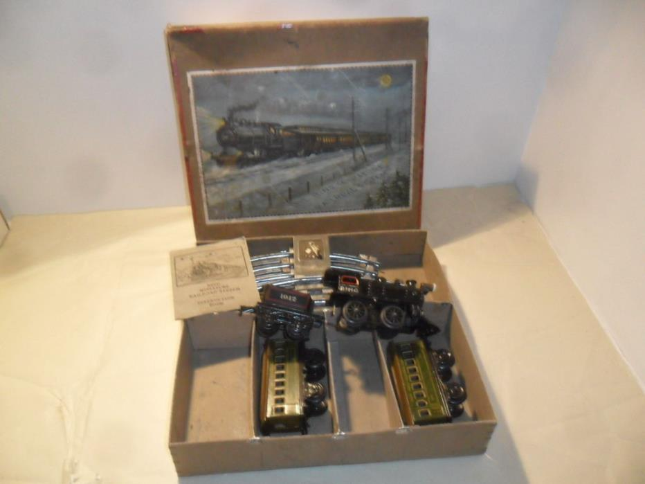 BING Prewar Cast Iron NYC Steam Engine O Scale Electric Train Set  Box, Germany