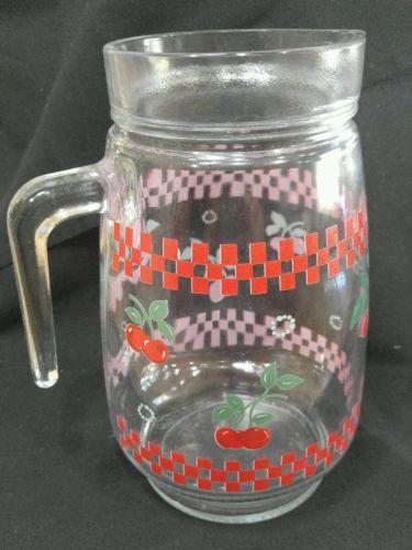 Vintage Kig Malaysia Glass Pitcher with Cherries and Checks