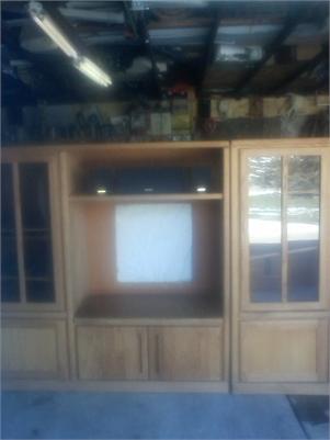 All Wood Entertainment Center W/Glass Doors