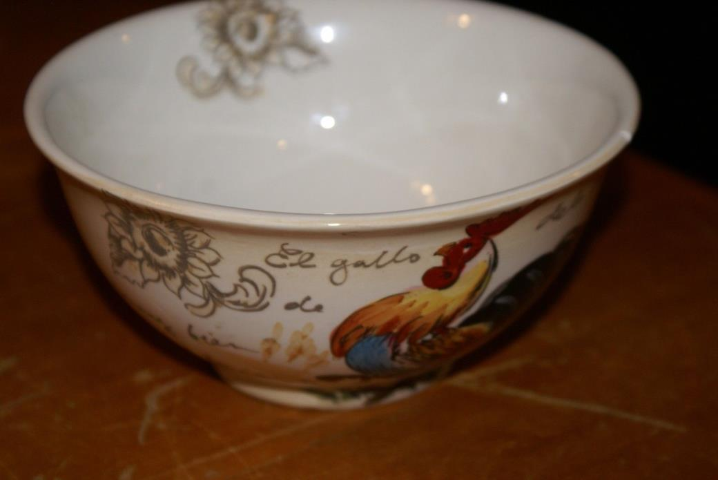(1)MAXCERA Le Chanticleer FRENCH SCRIPT ROOSTER SUNFLOWER PASTA SOUP BOWL