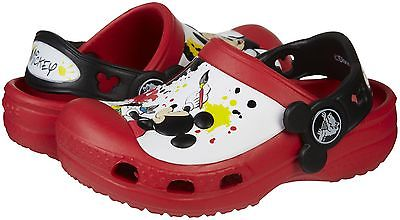 CROCS 15856-610 MICKEY PAINT SPLATTER CLOG Inf/Yth (M)Red Croslite Slip-On Clogs