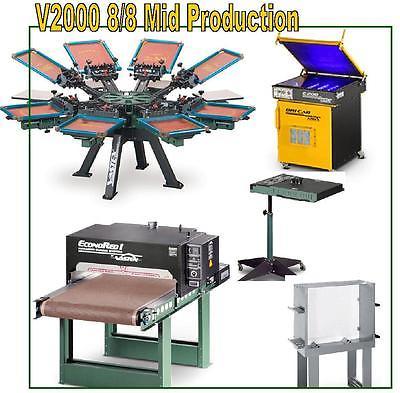 Vastex V-2000 Screen Printing Press 8 Station/ 8 Color Mid Production & Supply