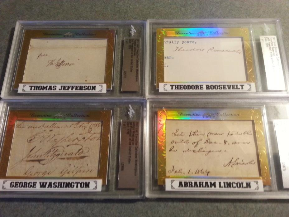 Leaf Executive MT RUSHMORE CUT AUTO 1/1 Washington Lincoln Jefferson Roosevelt