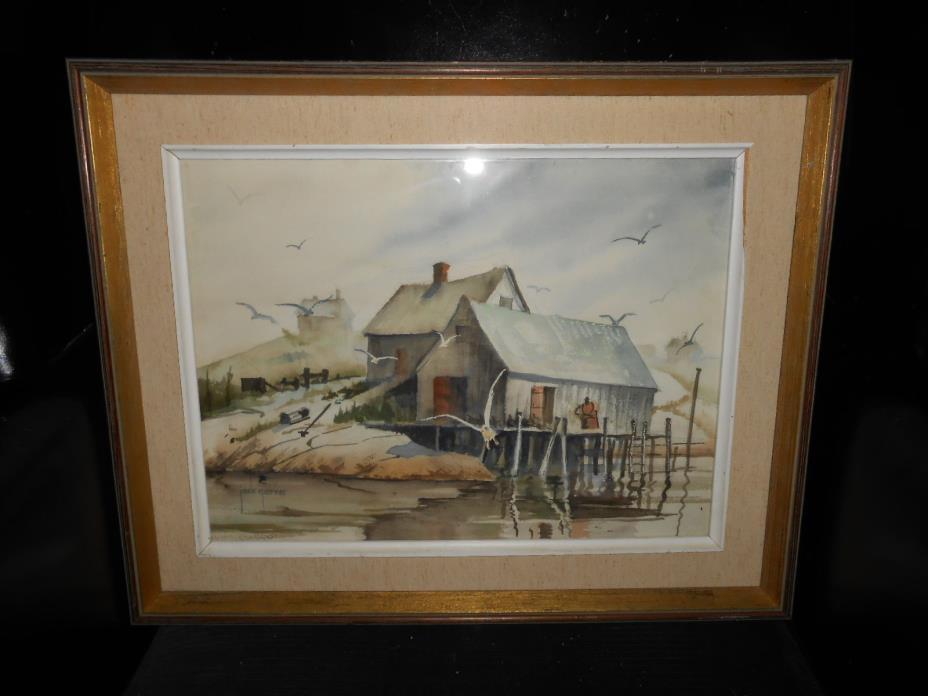Jack Garver Watercolor  Fishing Shanty Signed Listed Original Frame
