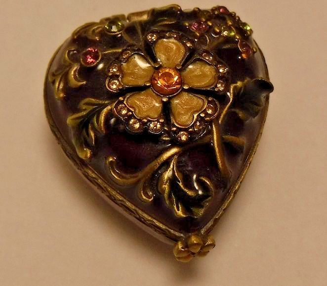 JAY STRONGWATER enamel enameled Trinket Box Heart Shaped with Swarovski Crystals
