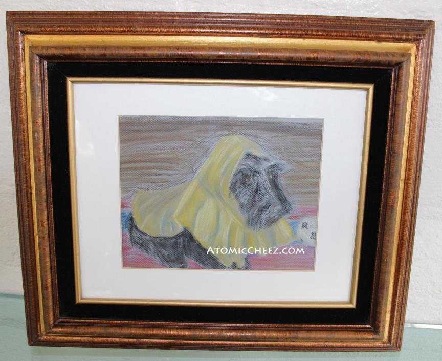 Charming SIGNED Scottish Terrier SCOTTY DOG in Yellow Raincoat DRAWING Sketch