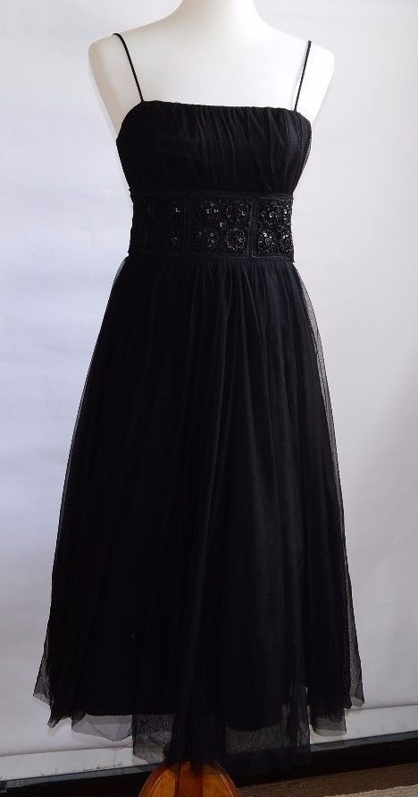 David's Bridal Black Spaghetti Strap Tea Length Formal Wedding Prom Dress Sz 4