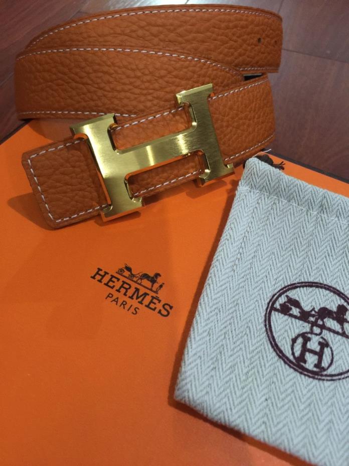 New Authentic Hermes men's belt 32mm Buckle H Gold Size 30-32