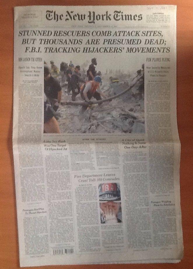 New York Times September 13, 2001 World Trade Center Rescuers