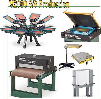 Vastex V-2000 Screen Printing Press 8 Station/ 8 Color Production & Supply
