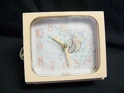 Vintage 1950's Westclox Electric Alarm Clock 22090-22540 Pink & White Butterflys