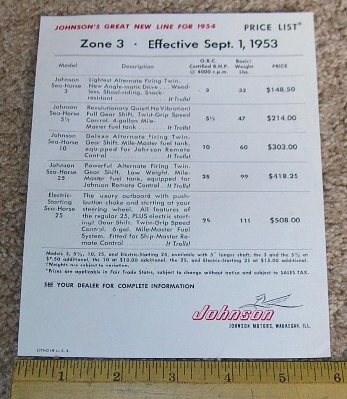 1954 54 JOHNSON SEA HORSE 3-25 HP Outboard Boat Motors Price List 9/1953 Zone 3