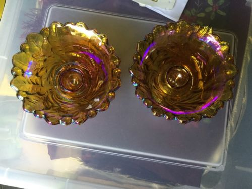 2 Marigold Carnival Glass Look Candle Holders