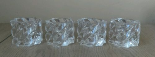 Set of 4 swirling glass votive candle holders excellent condition