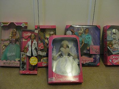6 Barbies- Rapunzel, Dentist, Vet, 2 Olympics, Winter