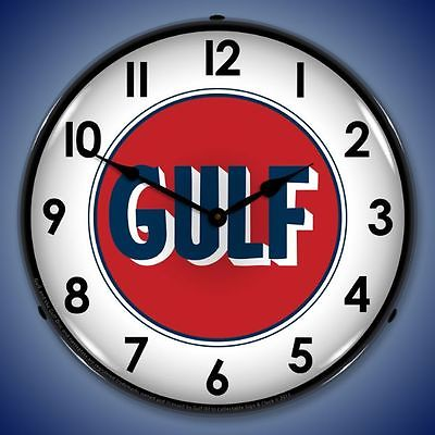 New vintage style 1960 Gulf Gasoline LIGHTED advertising clock USA made