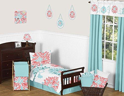Turquoise Toddler Bed Skirt for Modern Emma Kids Childrens Bedding Sets