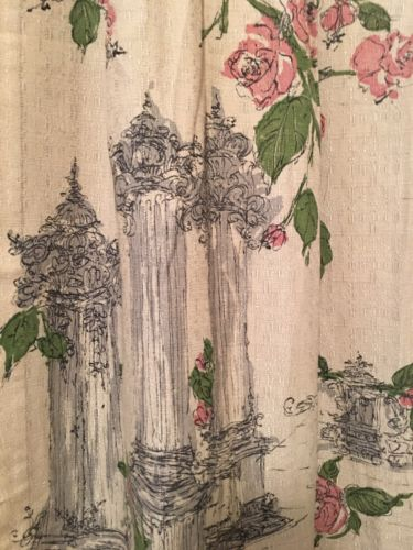Barkcoth Vintage Curtain Curtains Fabric Panels Mid Century Vtg Panel 2 Art Deco