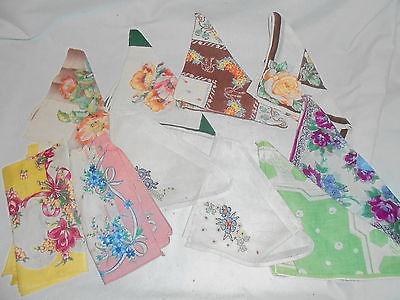 Vintage ladies hankies handkerchiefs lot of 10 Lot #S5