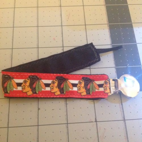 Baby Boy Girl Pacifier Clip Holder Ribbon Chicago Blackhawks Hockey Red Black