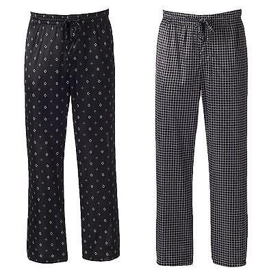 Croft & Barrow Men's Black Patterned Silky Micro-Knit Lounge PJ Pants XL NEW $30