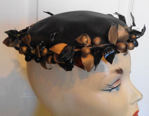 Vintage Black & Gold Berry & Leaf Trim Satin Hat Lemington 22