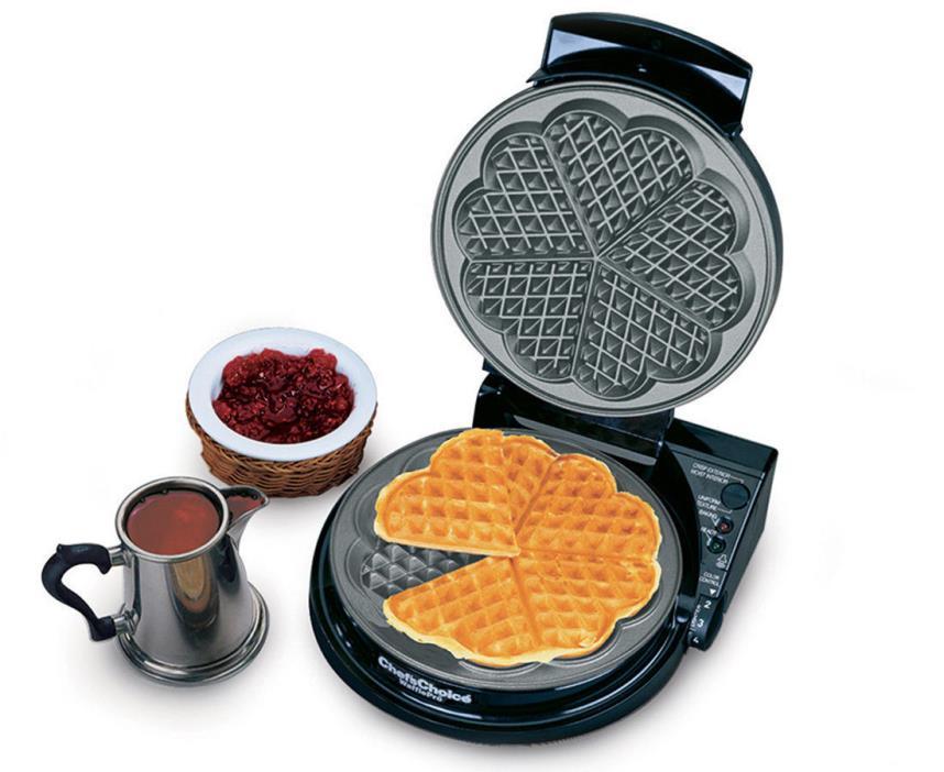 Chef's Choice 830 WafflePro Timer Audio Heart Baking Belgian Waffle Iron Maker