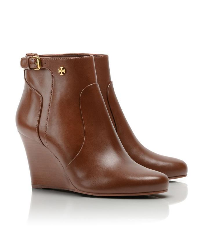 TORY BURCH MILAN LOGO WEDGE ANKLE BOOTIE CALF BOOTS SIZE 9.5 ALMOND