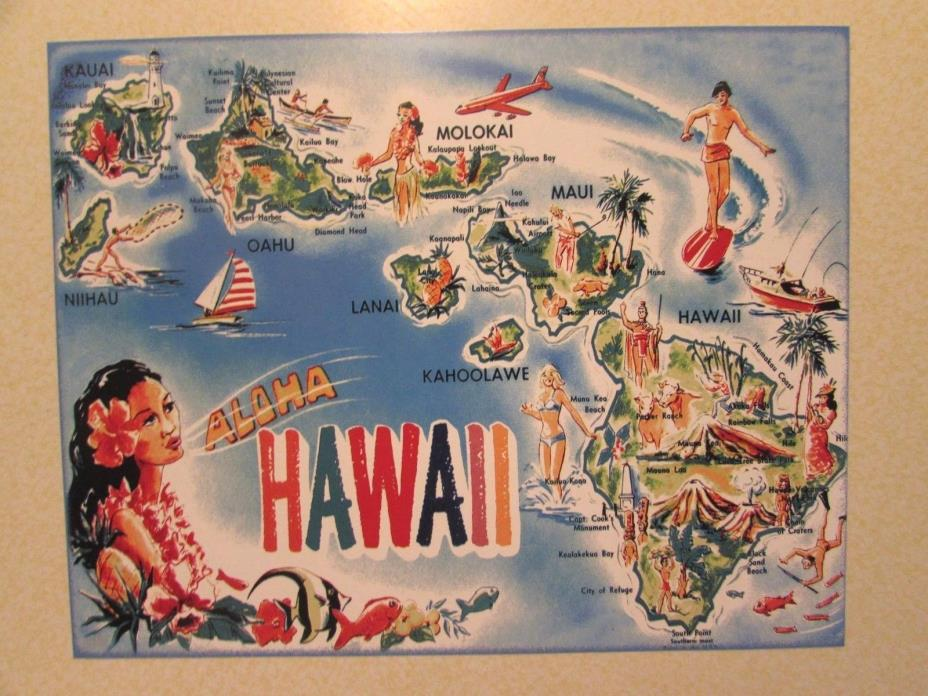 Hawaii map from the 1960s era / Expert reproduction of an old classic postcard